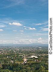 cidade, total, aéreo, vista