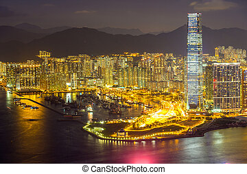 Aerial Hong Kong night