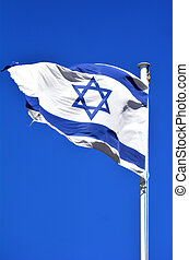 Flag Israel - The flag of Israel against blu sky background,...
