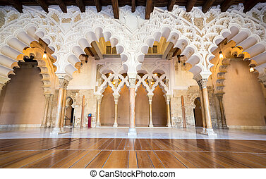 alcazar of Zaragoza Spain - Corridor of aljaferia alcazar of...
