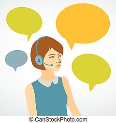 Beautiful woman working in a call center with speech bubbles...