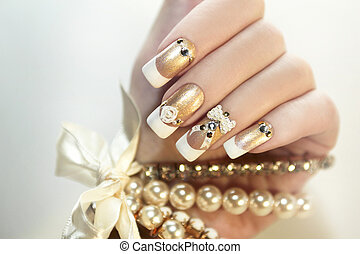 Pearl French manicure - Pearl French manicure with...