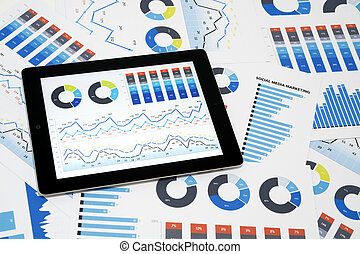 Social Media Marketing - Business charts and diagrams on...