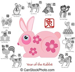 Chinese New Year Rabbit Color with Twelve Zodiacs...