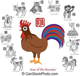 Chinese New Year Rooster Color with Twelve Zodiacs...