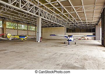 Airplane is parked in the hangar