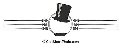 top hat - old-fashioned sign with top hat, walking stick and...