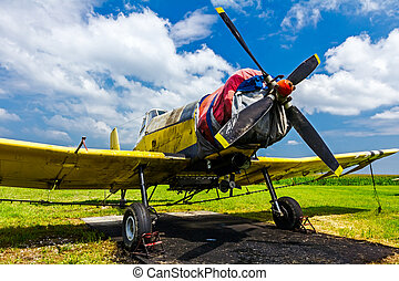 Crop duster airplane on airfield - Crop dusters like this...