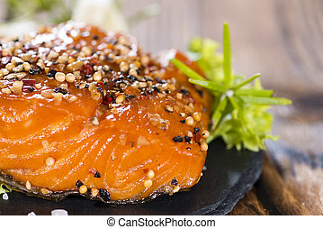 Smoked Salmon marinated with spices and fresh herbs