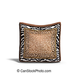 pillow with safari design. 3D render with clipping path and...