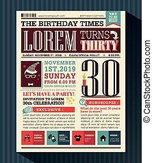Happy Birthday Party card design layout in newspaper style