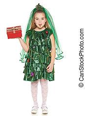 Girl in Christmas tree costume - Little girl in Christmas...