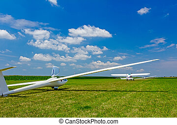Gliders waiting to go into the air - Sailplane, glider...
