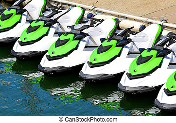 Personal watercraft - Line of personal watercraft. Concept...