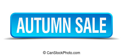 autumn sale blue 3d realistic square isolated button