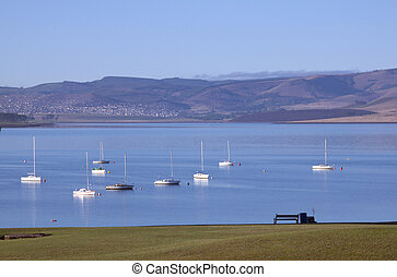 Yachts at Mooring on the Midmar Dam, Howick, South Africa -...