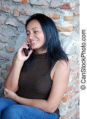 Beautiful Hispanic Woman on cell