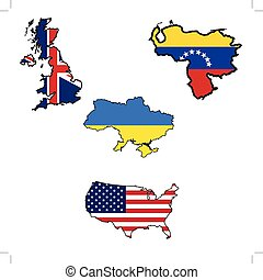 Map in colors of UK,Ukraine,United States,Venezuela