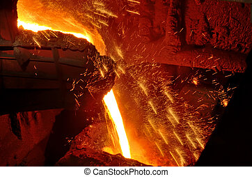 Molten steel pouring inside of plant