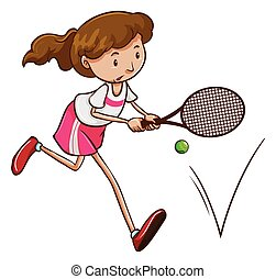 A female tennis player - Illustration of a female tennis...