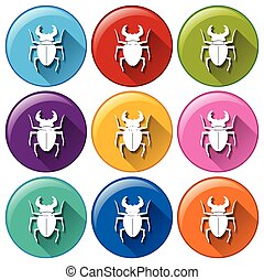Round icons with scorpions - Illustration of the round icons...