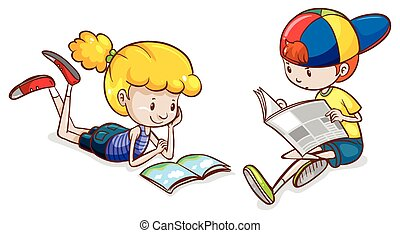 A girl and a boy reading - Illustration of a girl and a boy...