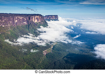 View from the Roraima tepui on Kukenan tepui at the fog -...