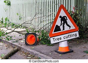 Tree cutting sign horisontal - Tree cutting safety sign and...