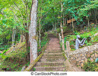 image of long stairs way to forest destination. - image of...