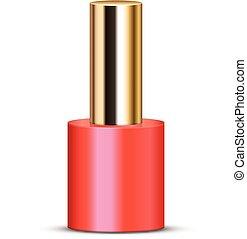 coral nail polish - Vector illustration of coral nail polish