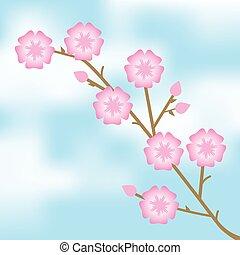 ベクトル, イラスト, の, ピンク, 花,