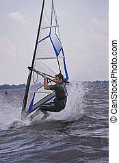 Windsurfer doing a trick - Windsurfer starting a new trick...