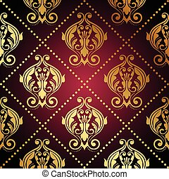 maroon wallpaper - Vector maroon wallpaper with gold...