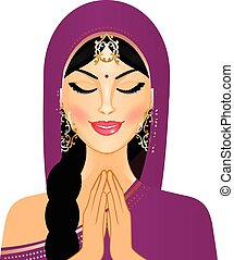 Indian woman - Vector illustration of Indian woman praying