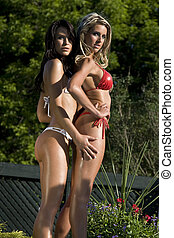 Two girl in bikini - Two girl wearing small bikini in a...