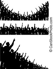 Pointing crowds - Set of editable vector silhouettes of...