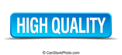 high quality blue 3d realistic square isolated button