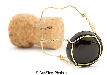 Champagne cork - close up of champagne cork isolated on...