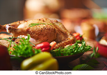Thanksgiving turkey - Roasted turkey with vegs and greenery