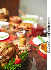 Appetizing meat - Roasted turkey with pepper, carrots and...
