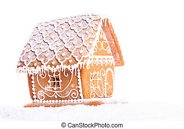 gingerbread house isolated - gingerbread house on a snow...