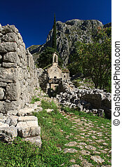 medieval old church in the mountains of Montenegro
