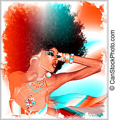 Modern digital art, Afro Queen - Modern digital art image of...
