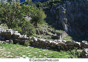 medieval fortress ruins in the mountains of Montenegro