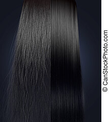 cabelo, comparação, direito, crespo, pretas