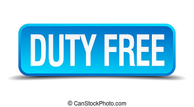 duty free blue 3d realistic square isolated button