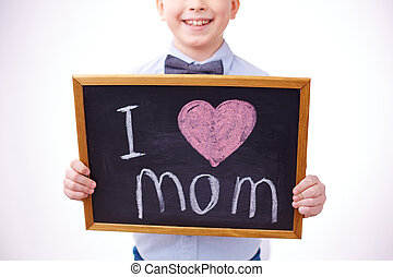 I love mother - Small blackboard with love declaration held...
