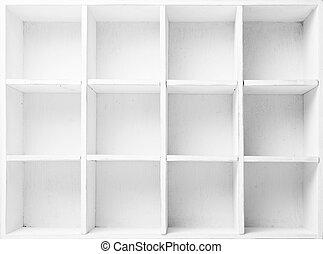 Empty Shelves in the white wooden rack