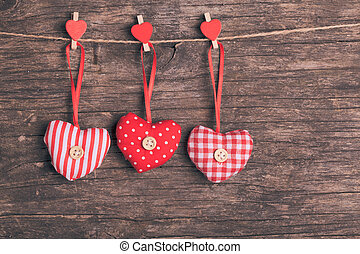 sewed christmas decor - White and red sewed christmas hearts...