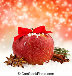 red apple and spices - apple with red ribbon and spices in...